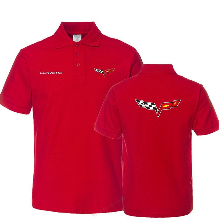 New Brand Business tops Men Casual Cotton Chevrolet Corvette polo shirt men Short Sleeve Tops Solid colour clothes